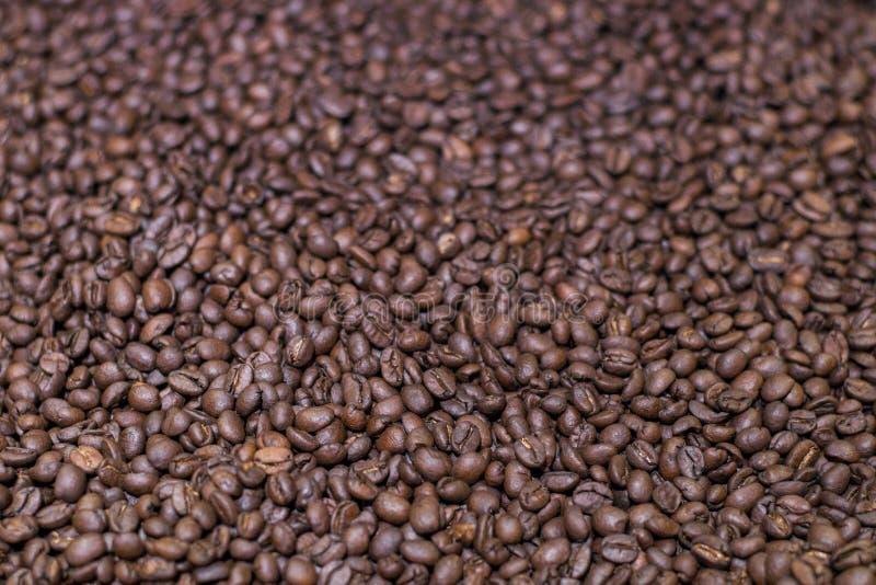 Brown asó los granos de café, fondo granuloso del café del arabica Oscuridad del caf? express, aroma, bebida negra del cafe?na En fotos de archivo