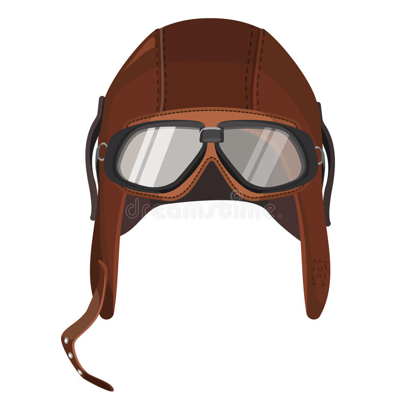 Brown Aviator Hat With Goggles Isolated On White Stock