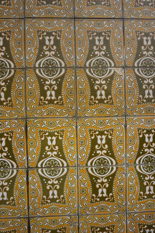 Brown Azulejos avec l'ornement floral photo libre de droits