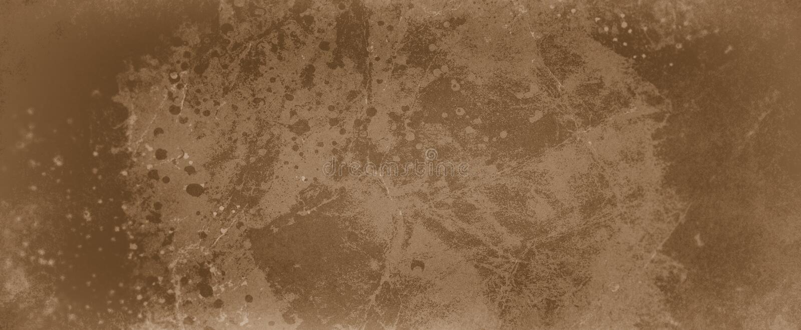 Brown background with light and dark brown coffee color design with paint spatter drips or drops and distressed old grunge texture. Old brown background with royalty free illustration