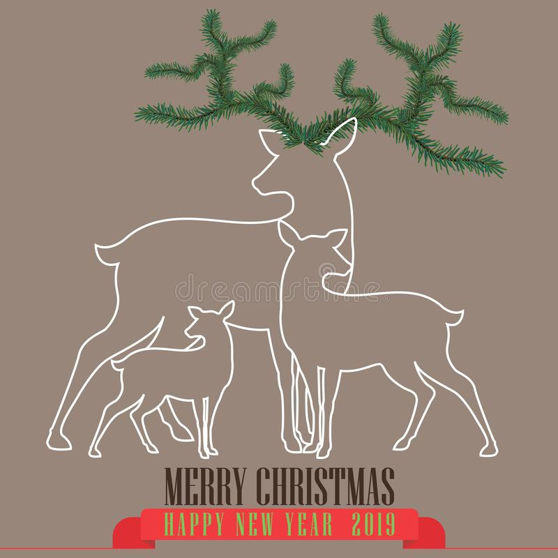 Brown background with Reindeer family for christmas. Merry Christmas lettering. New year card. Vector illustration stock illustration
