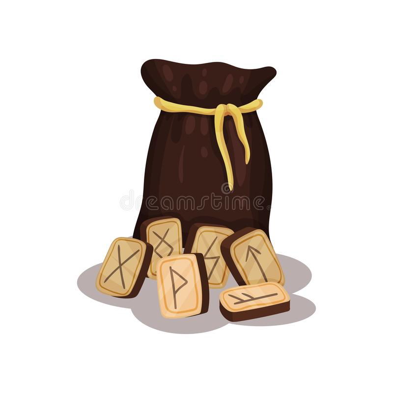 Brown bag and wooden magic runes for future reading and divination. Flat vector for advertising poster or banner stock illustration