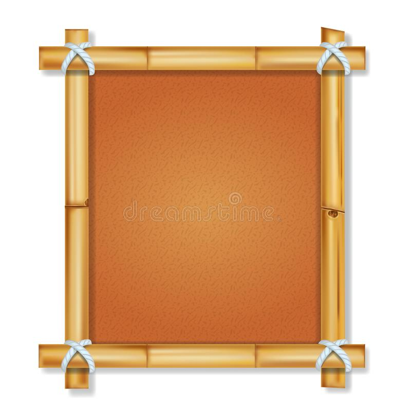 Brown-Bambusrahmen mit dem Weinlesepapierpergament lokalisiert stock abbildung