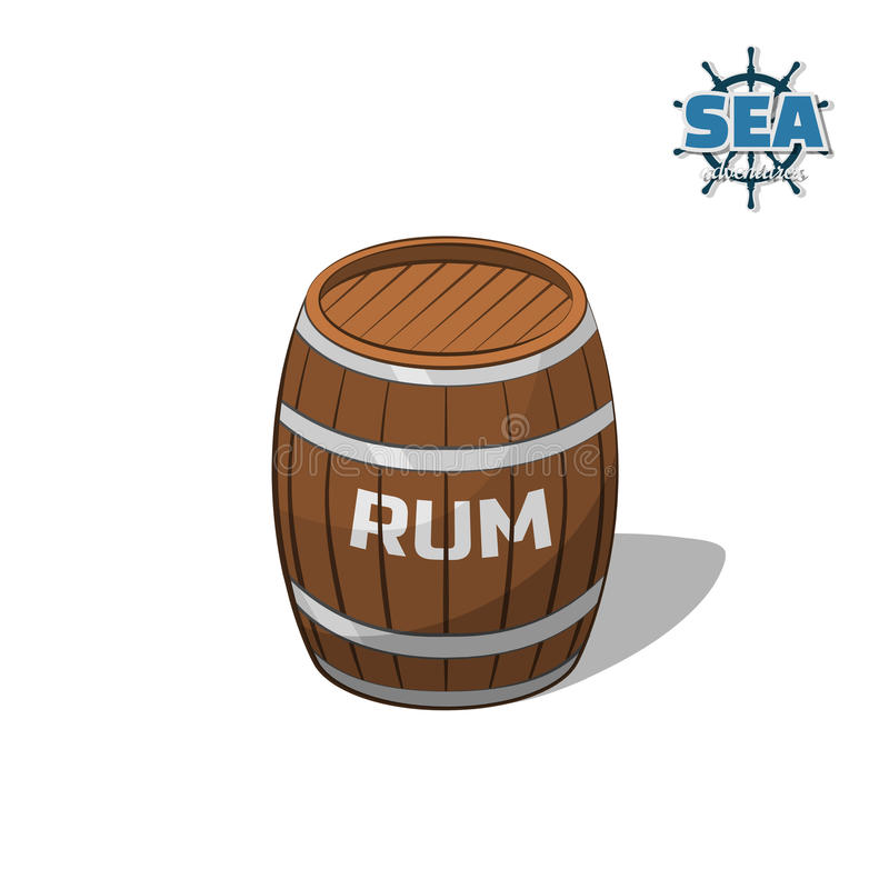 Brown barrel of rum on white background. image in cartoon style. Vector illustration royalty free illustration