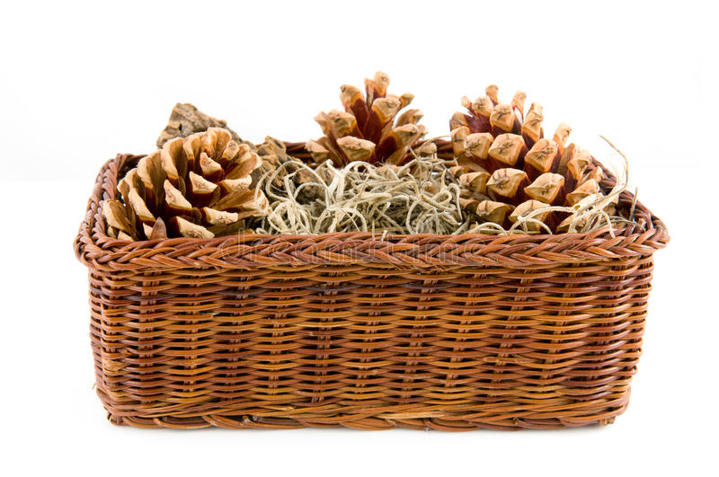 Download Brown Basket With Pine Cones Stock Photo - Image: 11596214