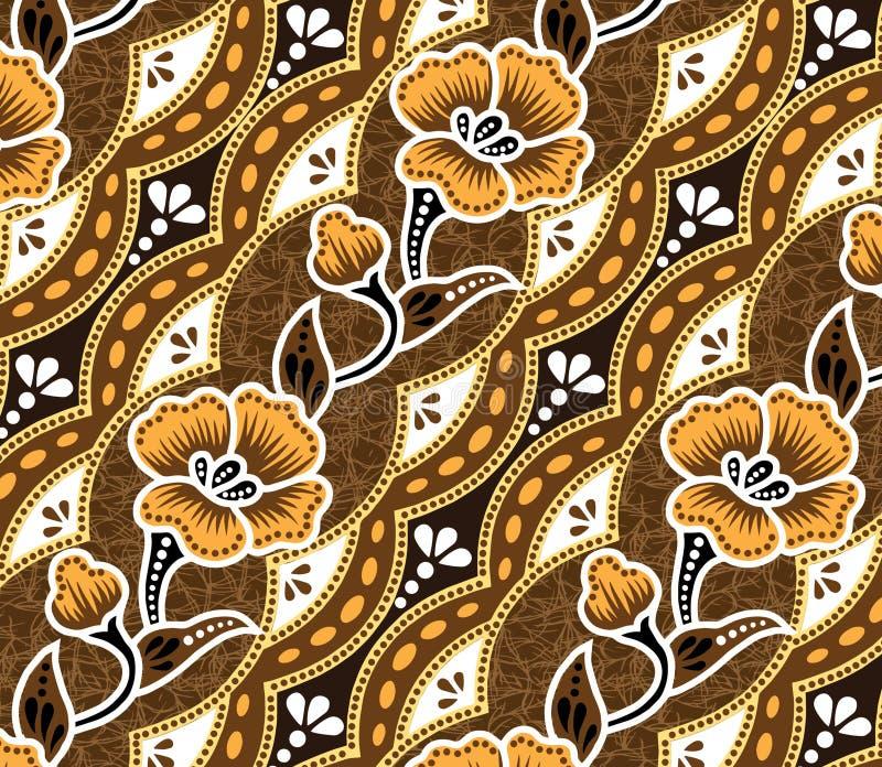 Brown Batik.beautiful Brown Background And Flowers. Stock