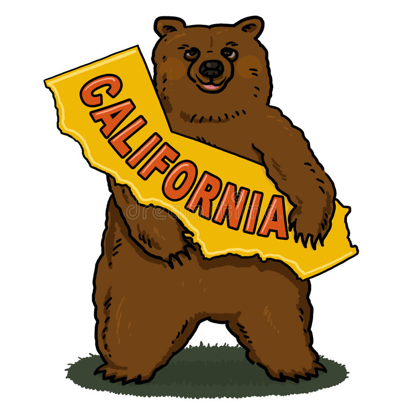 Download Bear Holding California Map Cartoon Stock Illustration - Illustration: 23123035