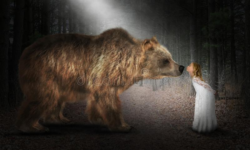 Brown Bear, Imagination, Nature, Kiss. A young girl uses her imagination to play with a brown bear in nature. She is giving the wildlife animal a kiss. Abstract stock images