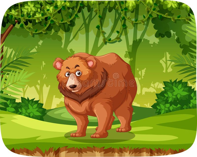 Brown bear in jungle scene vector illustration