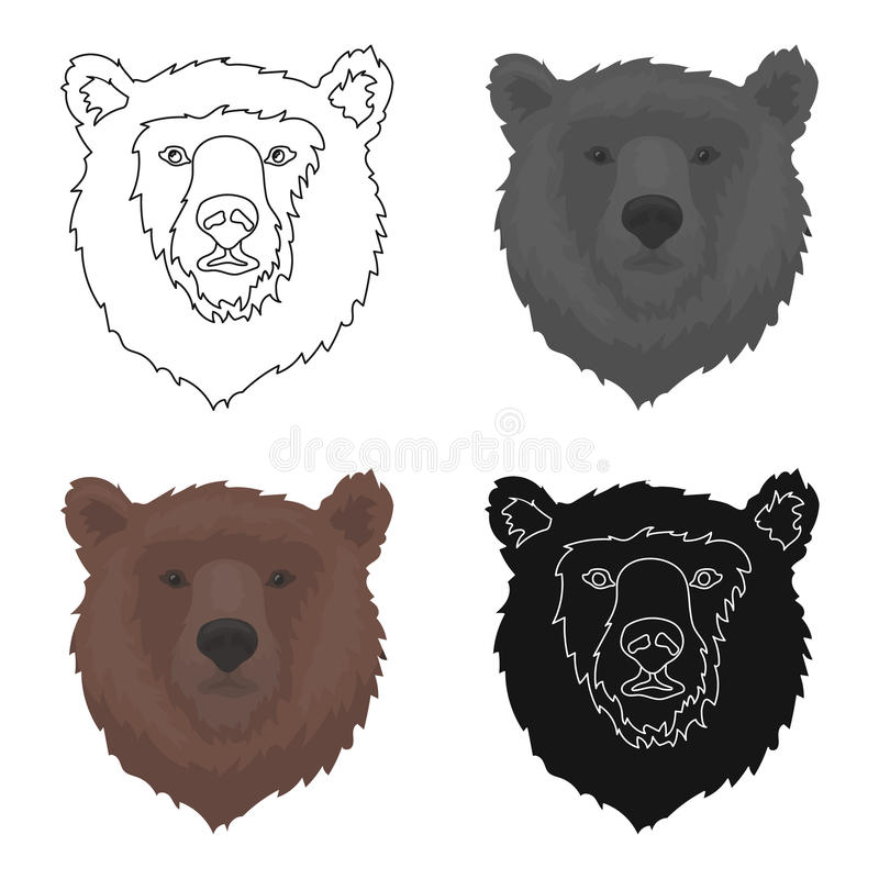 Brown Bear Muzzle Icon In Cartoon Style On White Background Russian