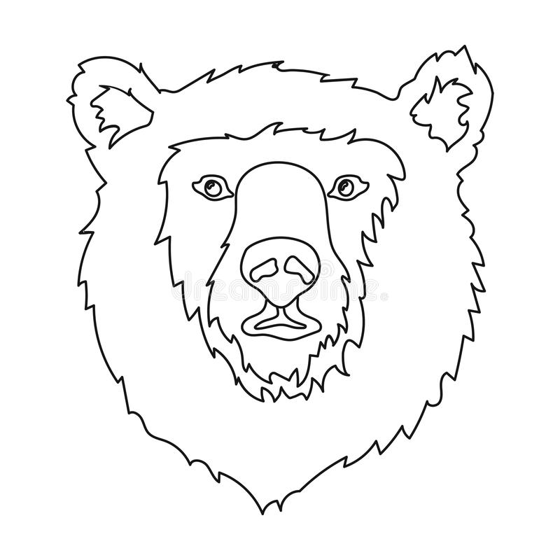 Brown Bear Muzzle Icon In Outline Style Isolated On White Background