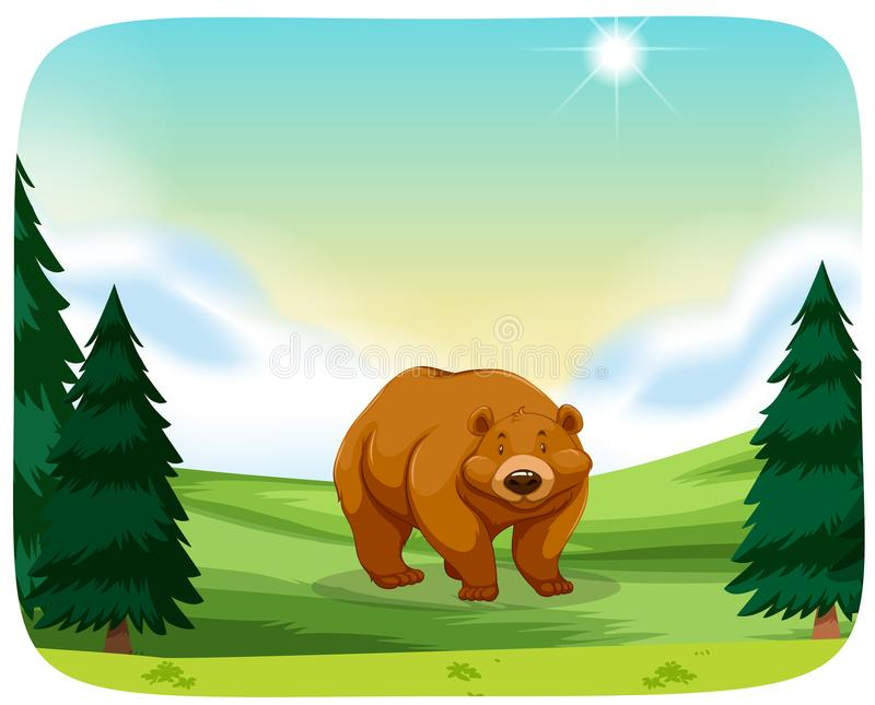 Brown bear in nature scene vector illustration
