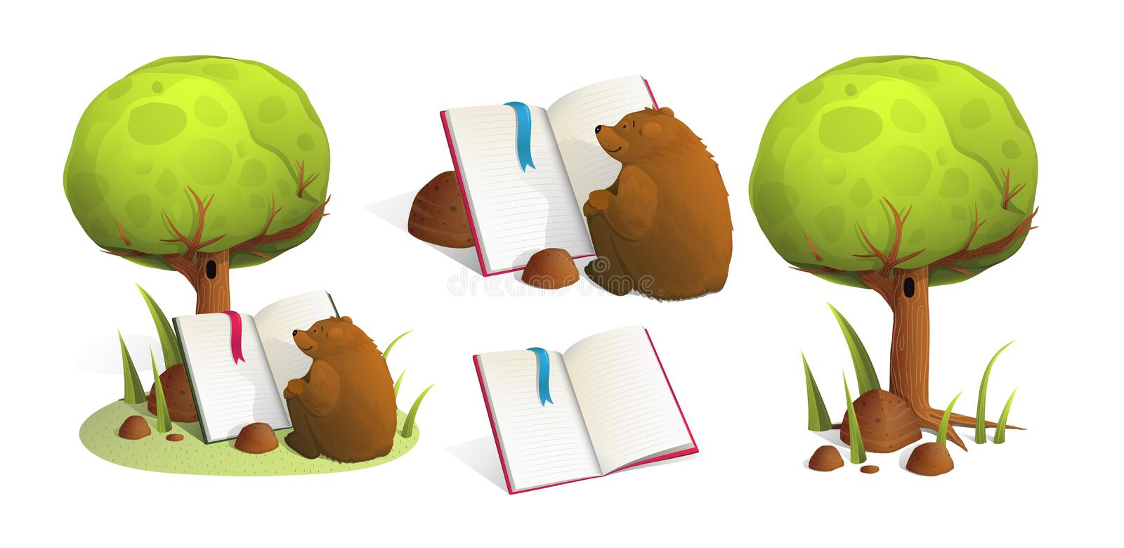Brown Bear Reading a book under green tree in forest. royalty free illustration