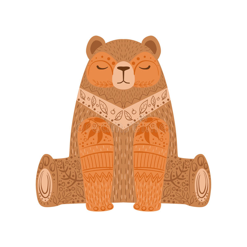 Brown Bear Relaxed Cartoon Wild Animal With Closed Eyes Decorated With Boho Hipster Style Floral Motives And Patterns royalty free illustration