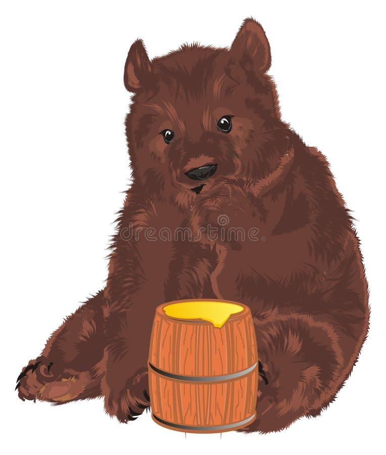 Bear and honey stock illustration
