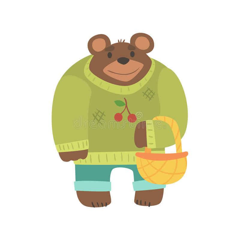 Brown Bear In Sweater With Wicker Basket, Forest Animal Dressed In Human Clothes Smiling Cartoon Character. Vector Childish Flat Illustration With Funky vector illustration