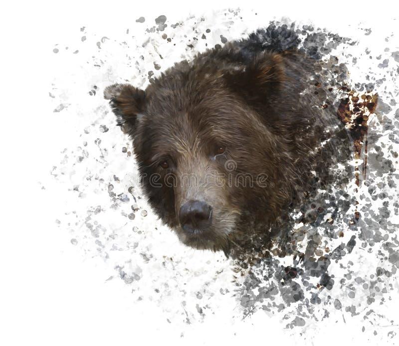 Brown Bear Watercolor stock illustration
