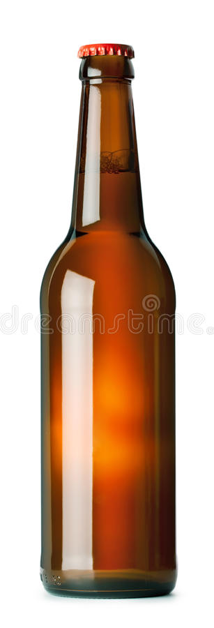 Brown beer bottle. Isolated on white background stock photography