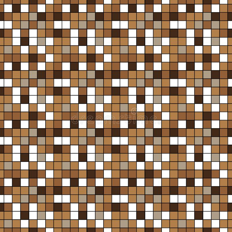 Brown and beige ceramic floor and wall tiles. Abstract vector background. Geometric mosaic texture. Simple seamless pattern for vector illustration