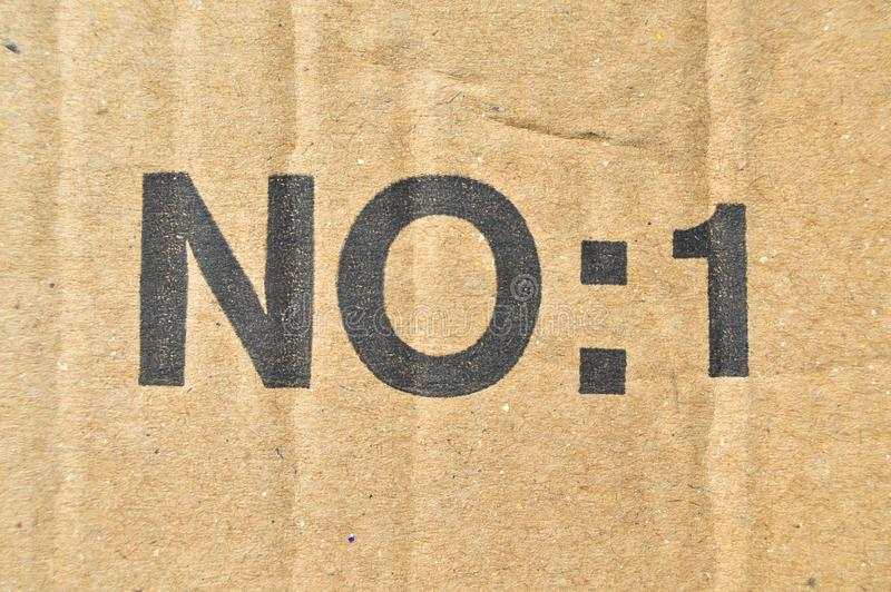Brown and beige colored corrugated cardboard, number one, no:1 stock photo