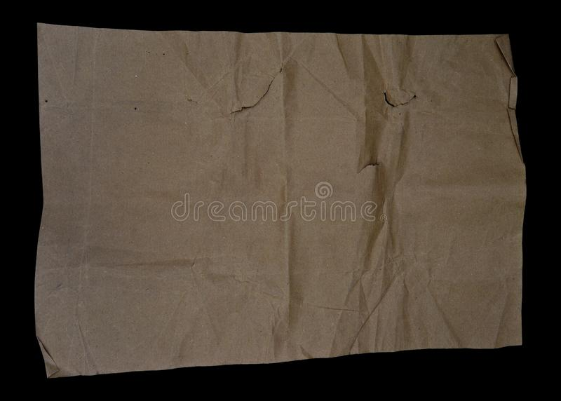 Brown and beige crumpled paper, cardboard. stock photography