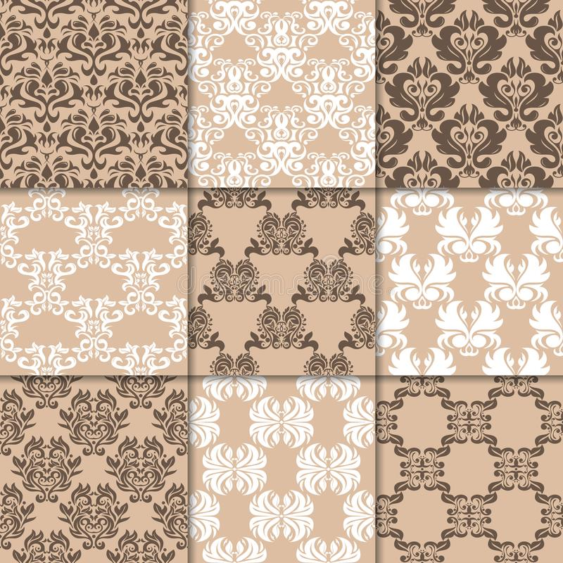 Brown beige floral ornaments. Collection of seamless patterns royalty free illustration