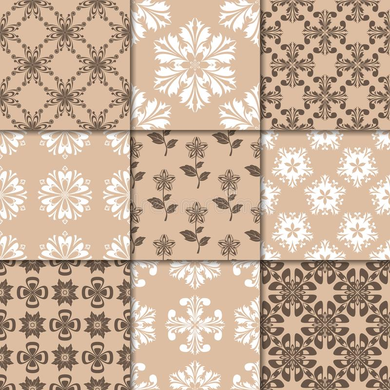 Brown beige floral ornaments. Collection of seamless patterns stock illustration