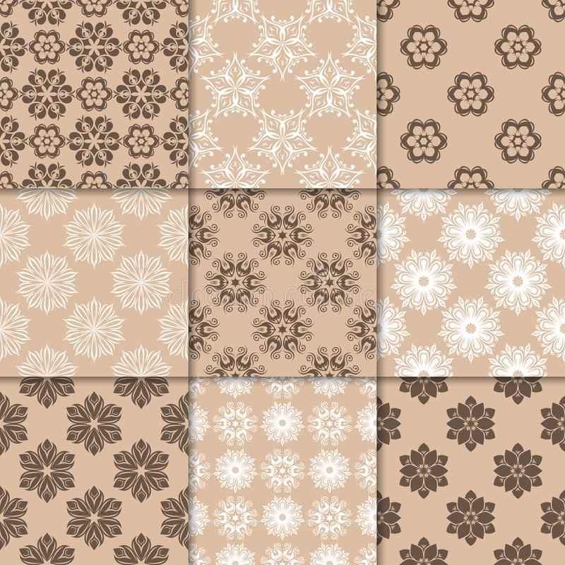 Brown beige floral ornaments. Collection of seamless patterns vector illustration