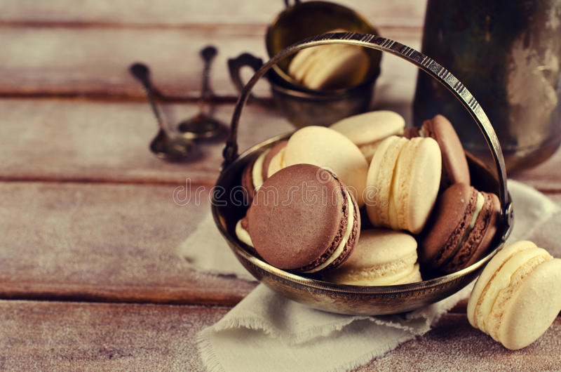 Brown and beige macaroon royalty free stock image