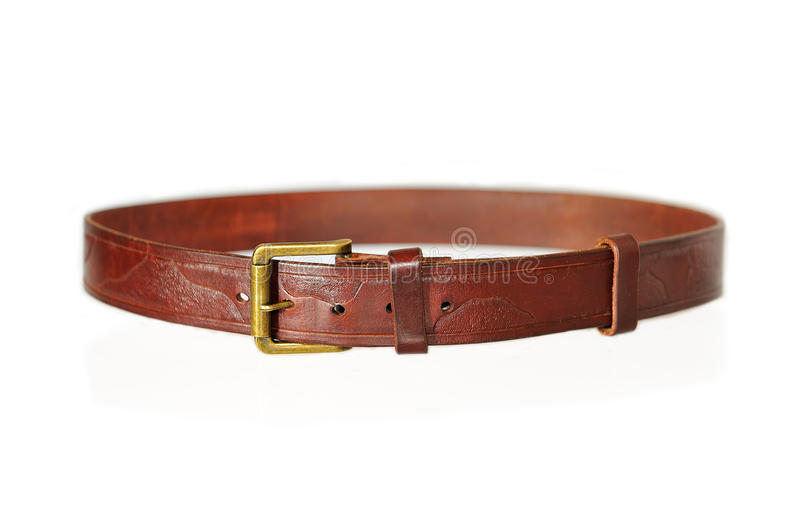 Brown belt with buckle isolated on white. royalty free stock image