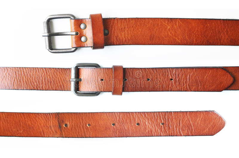 Brown belt in white background royalty free stock image