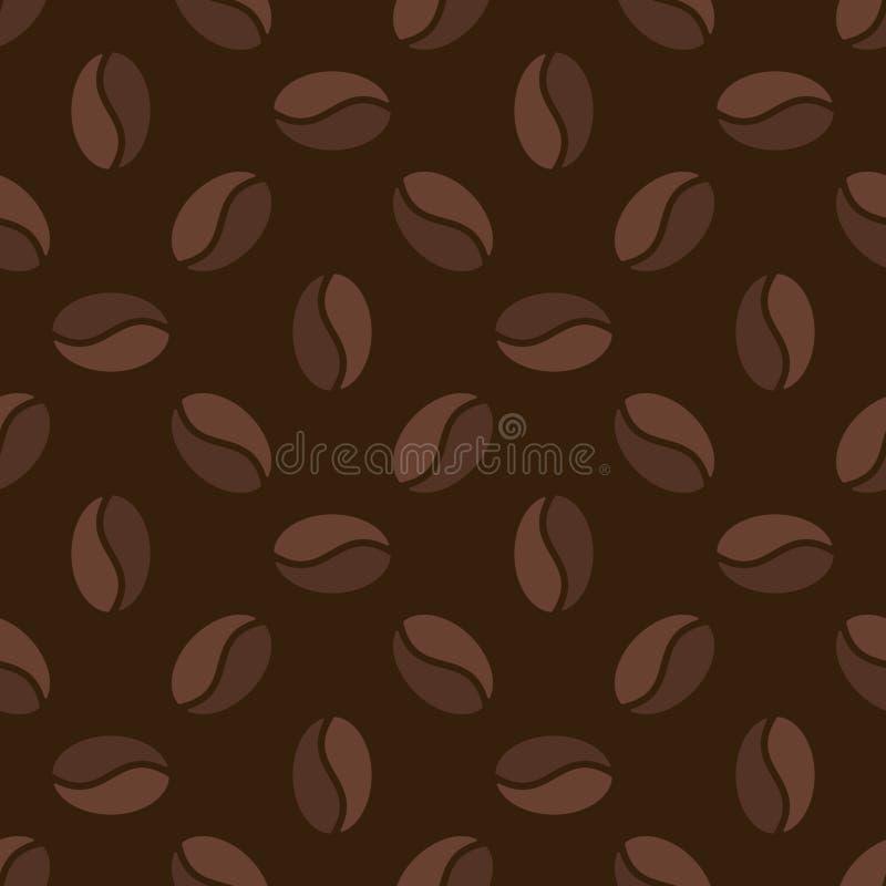 Brown bezszwowy wzór z kawowymi fasolami - wektorowa tekstura ilustracja wektor