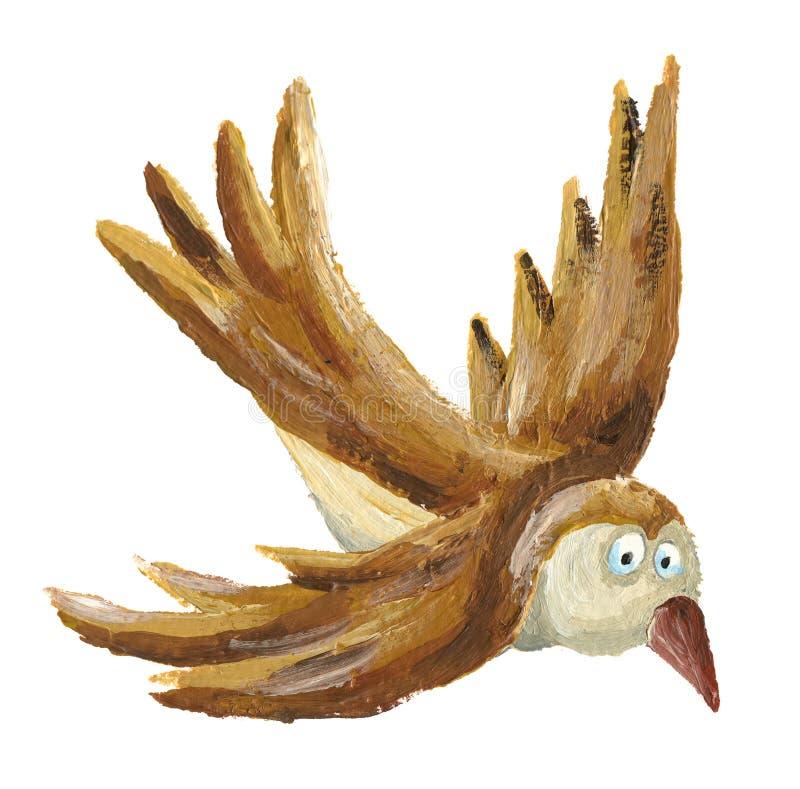 Brown bird flying. Illustration of brown bird flying