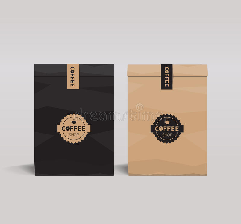Brown and black paper packaging set mock up . coffee shop and restaurant. stock illustration