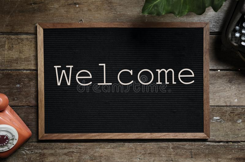 Brown And Black Welcome Bulletin Board stock photo