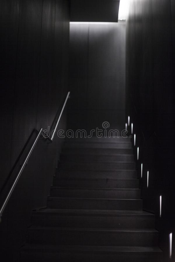 Brown and Black Wooden Staircase stock images
