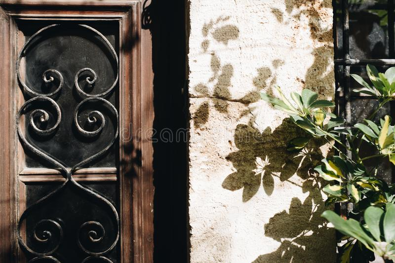 Brown And Black Wooden Window Pane royalty free stock photography