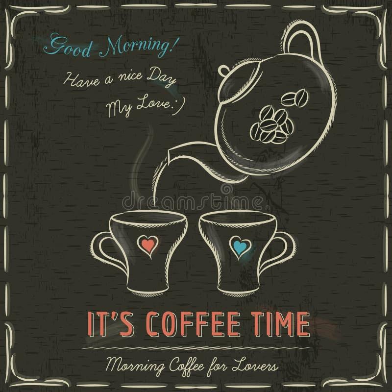 Brown blackboard z dwa filiżankami gorąca kawa i czajnik, wektor ilustracji