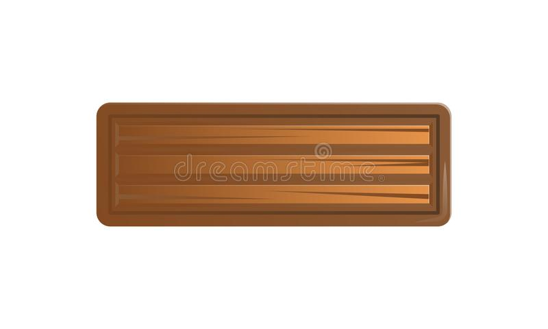 Brown blank message board in cartoon style vector illustration