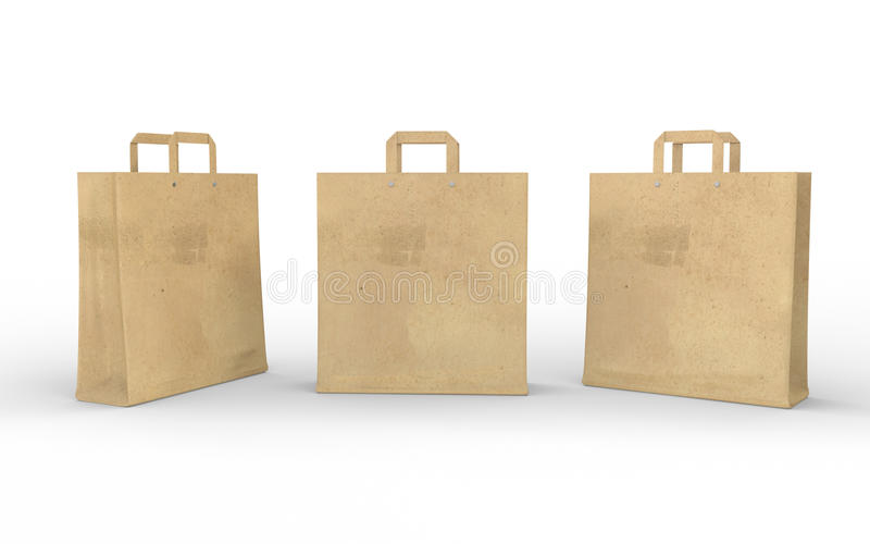 Brown blank paper bag isolated on white with clipping path royalty free illustration
