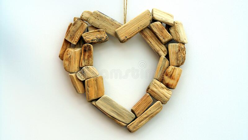 Brown Blocks Heart Shape Wall Mount Ornament stock images