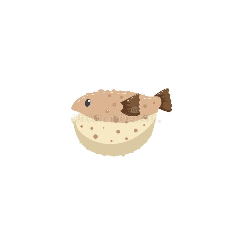 Brown blowfish postać z kreskówki pływać podwodny Modna kreskówka stylu wektoru ilustracja ilustracja wektor