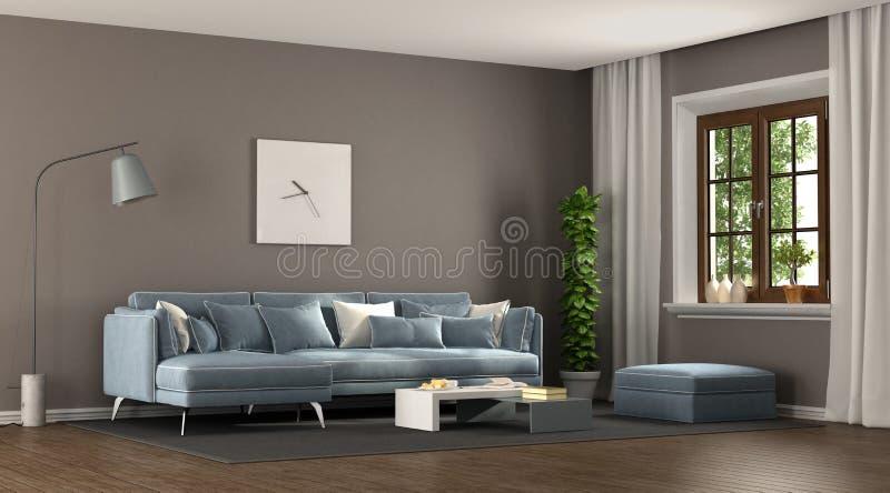 Brown and blu elegant living room vector illustration