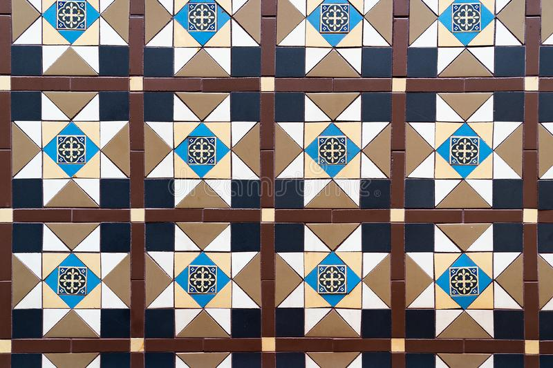 Brown Blue Combination Square Mosaics Bathroom Wall Tiles Texture Background. stock photography