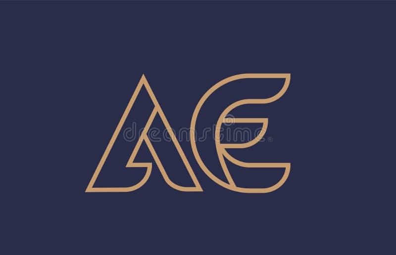 Brown blue line alphabet letter AE A E logo combination company icon design. Brown blue line alphabet letter AE A E logo combination icon for a company business stock illustration