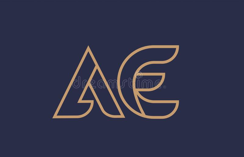 Brown blue line alphabet letter AE A E logo combination company icon design. Brown blue line alphabet letter AE A E logo combination icon for a company business vector illustration