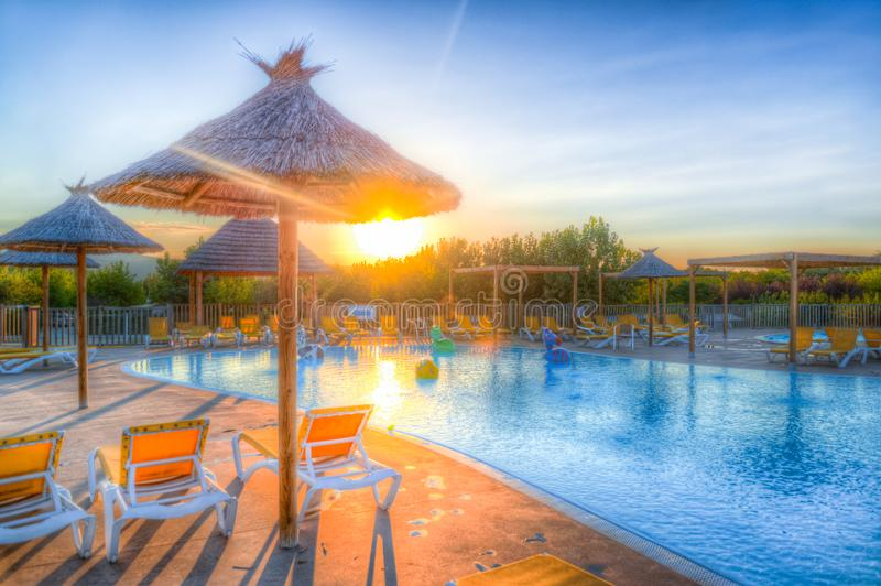 Brown and Blue Resort Surface during Daynight stock photo