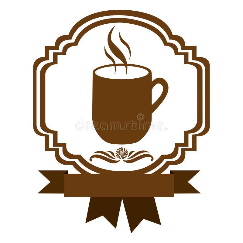 brown border heraldic decorative ribbon with mug and smoke coffee vector illustration