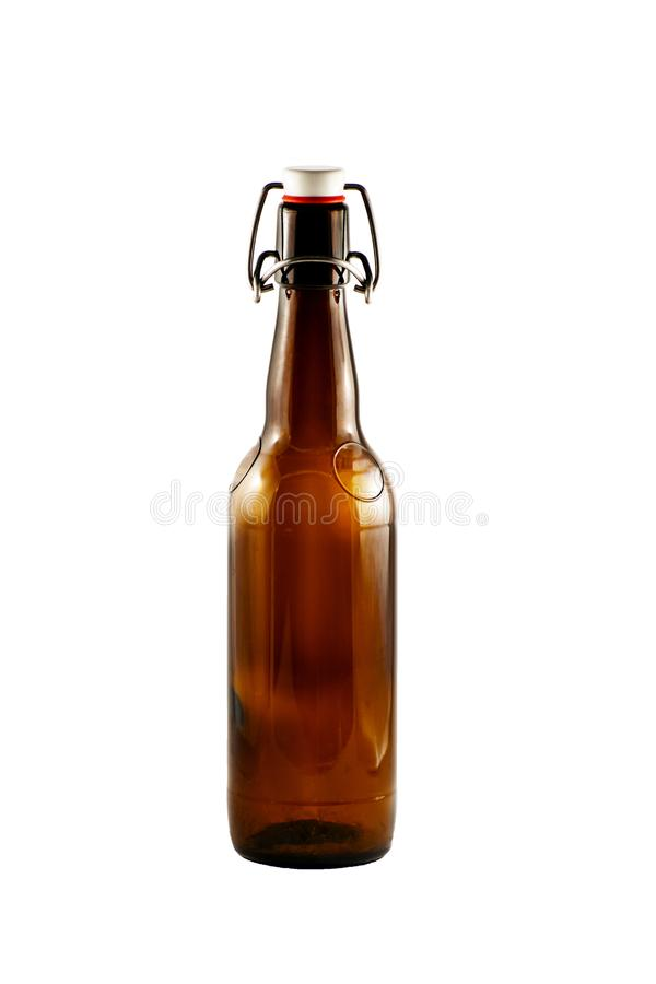 Brown bottle of beer isolated on white background stock image