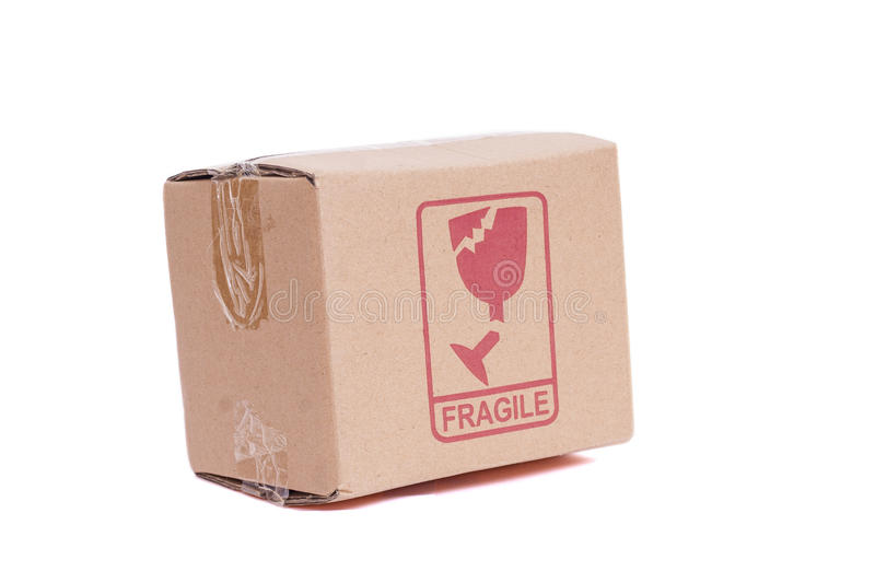 Fragile Box. A brown box with a fragile label stock image